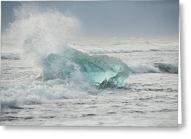 Glacial Iceberg In Beach Surf. Greeting Card by Andy Astbury
