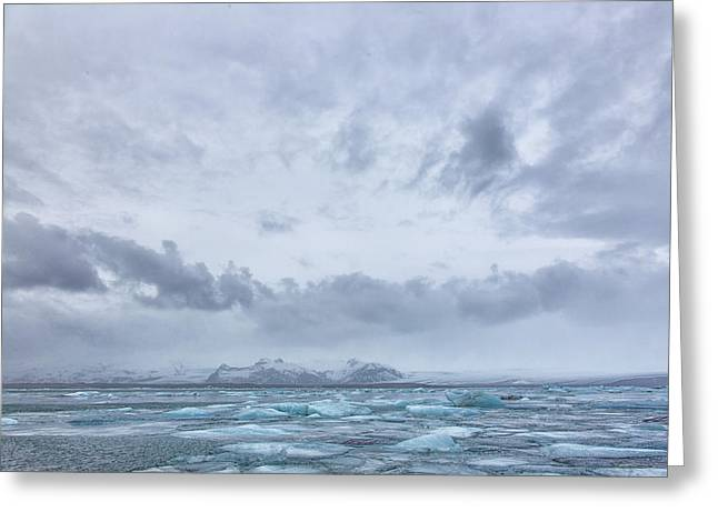 Greeting Card featuring the tapestry - textile Glacial Lagoon Iceland by Kathy Adams Clark