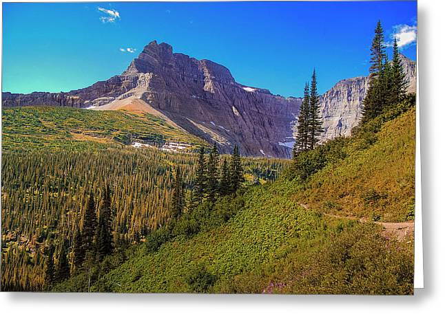 Greeting Card featuring the photograph Glacier Along The Iceberg Lake Trail by Andrew Soundarajan