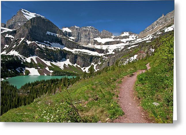 Greeting Card featuring the photograph Glacier Backcountry Trail by Gary Lengyel