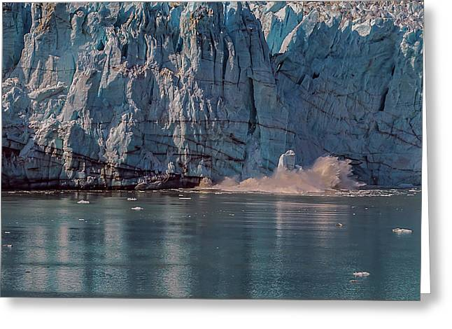 Greeting Card featuring the photograph Glacier Bay Ice Calving by Brenda Jacobs
