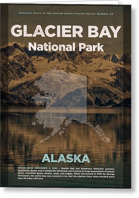Glacier Bay National Park In Alaska Travel Poster Series Of National Parks Number 22 Greeting Card by Design Turnpike