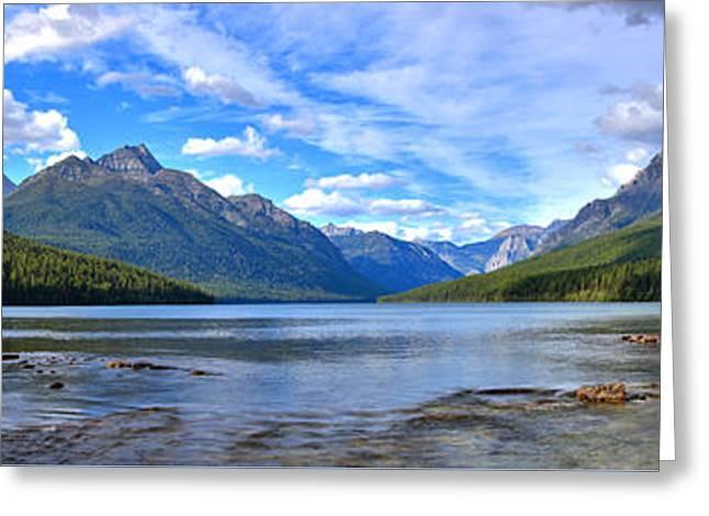 Glacier Bowman Lake Panorama Greeting Card by Adam Jewell