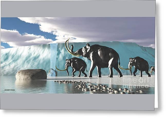 Glacier Mammoths Greeting Card by Corey Ford