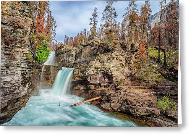 Glacier National Park Chilly Waterfall Greeting Card by Andres Leon