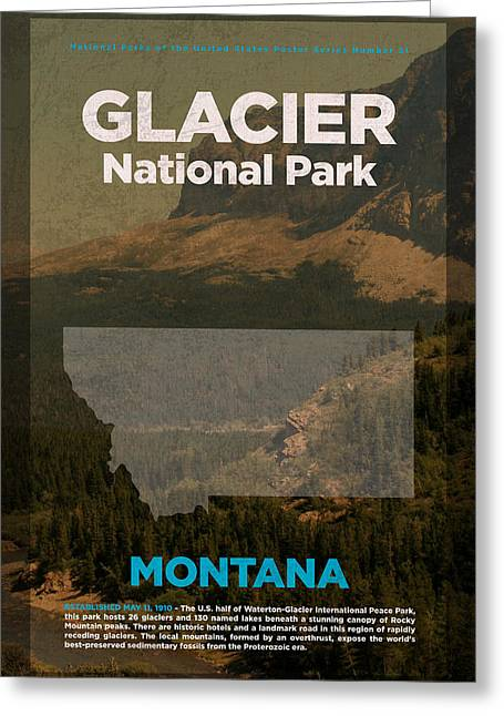 Glacier National Park In Montana Travel Poster Series Of National Parks Number 21 Greeting Card by Design Turnpike