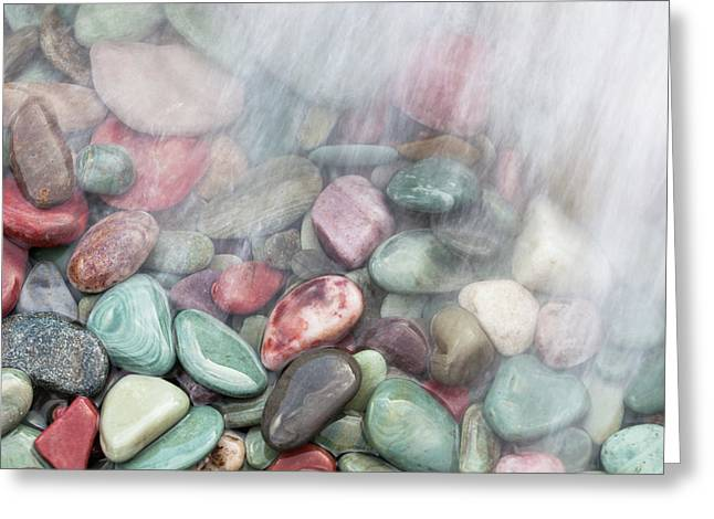 Glacier National Park Saint Mary's Lake Colored Stones Greeting Card by Mark VanDyke