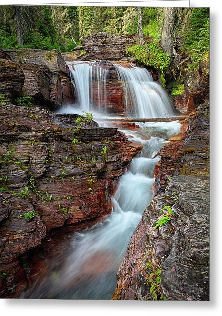 Glacier National Park Waterfall 2 Greeting Card by Andres Leon