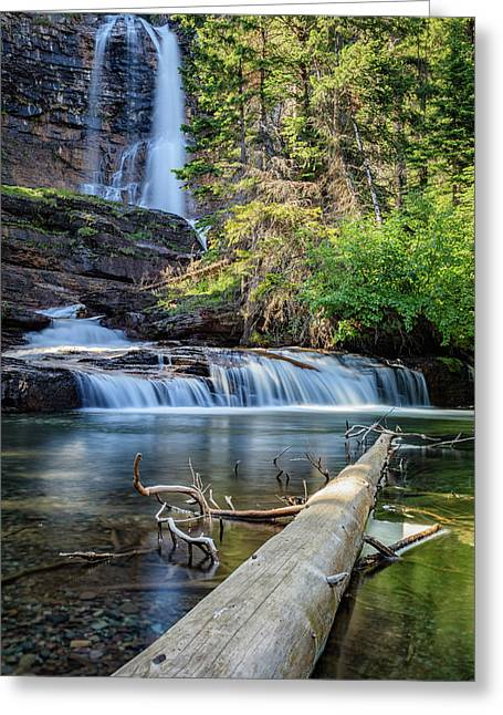 Glacier National Park Waterfall 3 Greeting Card by Andres Leon