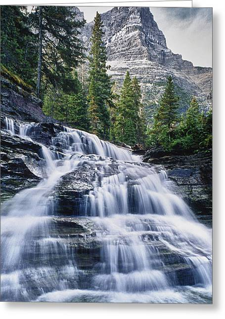 Glacier National Park Waterfall Greeting Card by Donald Schwartz