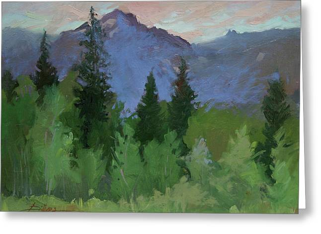Glacier Nat'l Park - Plein Air -  Rising Wolf Ranch Greeting Card