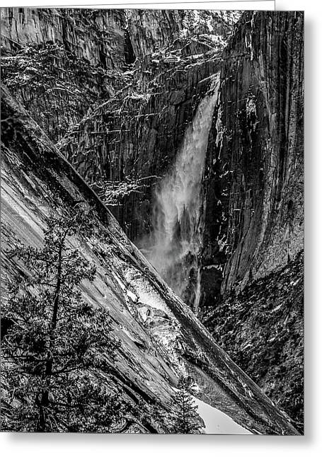 Glacier Point And Yosemite Falls Greeting Card by Bill Gallagher
