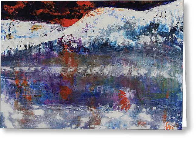 Greeting Card featuring the painting Glacier Reflections by Walter Fahmy