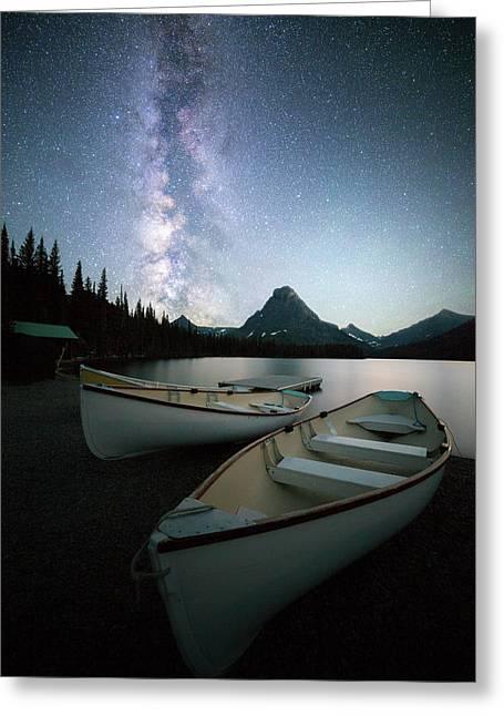 Glacier's Midnight Dream / Two Medicine Lake, Glacier National Park  Greeting Card