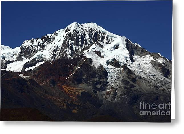 Glaciers Of Mt Illampu Bolivia Greeting Card