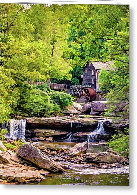 Glade Creek Grist Mill 3 - Paint Greeting Card by Steve Harrington