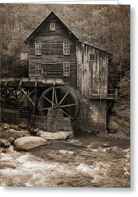 Glade Creek Grist Mill Sepia Greeting Card by Dan Sproul