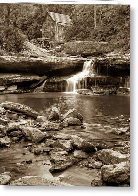Glade Creek Mill - Babcock State Park - West Virginia - Sepia Greeting Card by Gregory Ballos