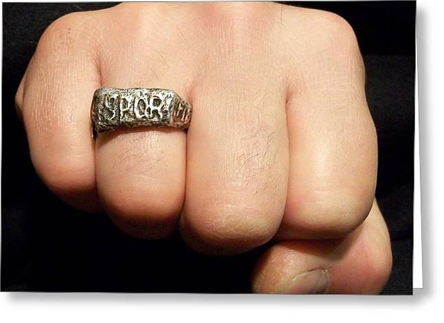 Gladiator Ring Greeting Card by Marino Ceccarelli Sculptor