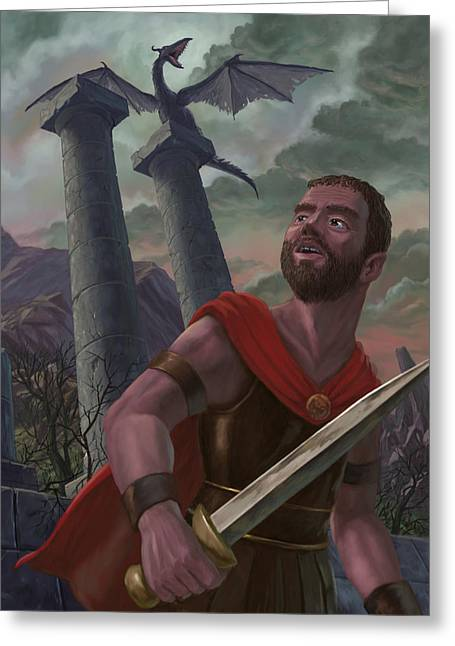 Fantasy Creatures Greeting Cards - Gladiator Warrior With Monster On Pillar Greeting Card by Martin Davey