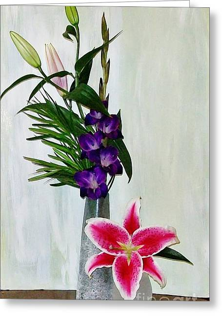 Gladiola And A Star Greeting Card by Marsha Heiken