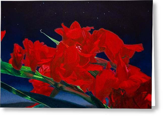 Gladiolas Greeting Card by Gregory Van Raalte