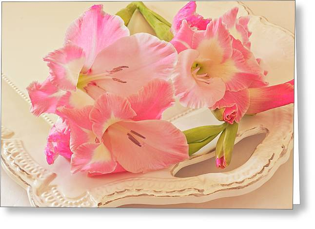 Gladiolas In Pink Greeting Card by Sandra Foster