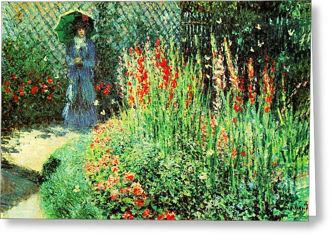 Gladioli Greeting Card by Claude Monet