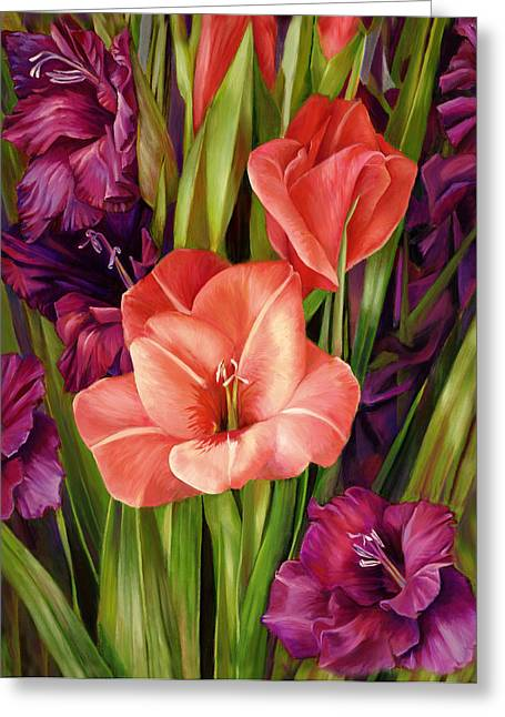 Gladiolus A Bee's View Greeting Card by Nancy Tilles