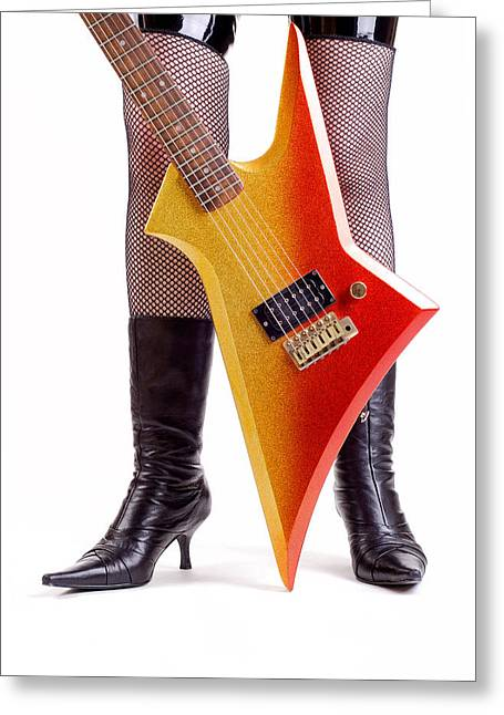 Glam Rock Guitar Greeting Card by Norman Pogson