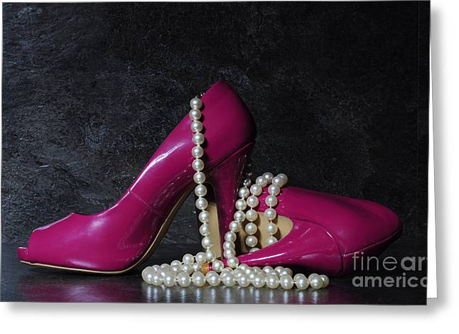 Glamorous Pair Of Ladies Pink High Heels Greeting Card by Milleflore Images