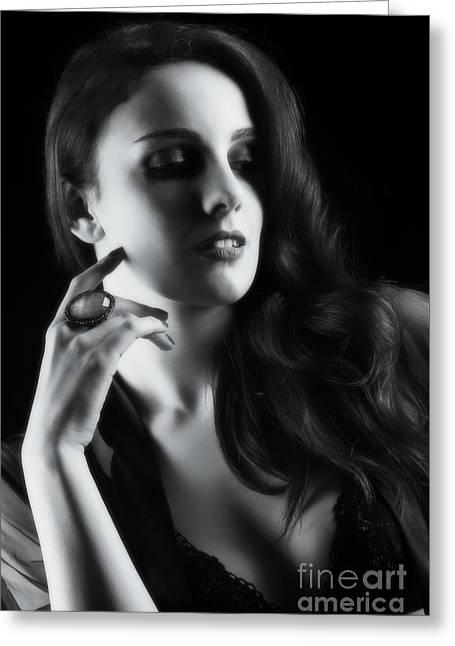 Glamorous Woman Portrait Greeting Card by Amanda Elwell