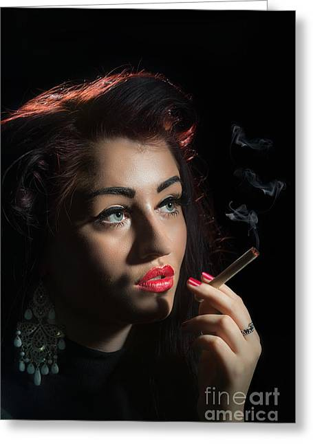 Glamorous Woman Smoking Greeting Card by Amanda Elwell