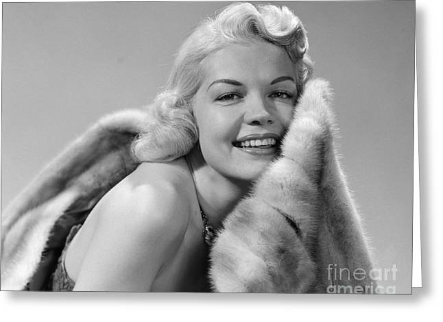 Glamorous Woman With Fur, C.1950s Greeting Card by Debrocke/ClassicStock