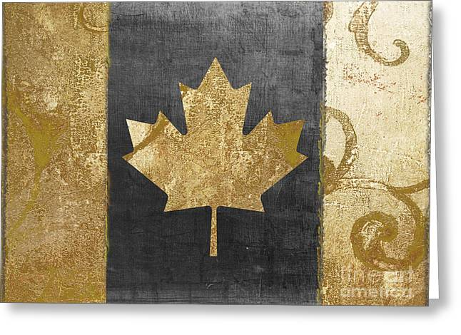 Glamour Gold Canada Flag Greeting Card by Mindy Sommers