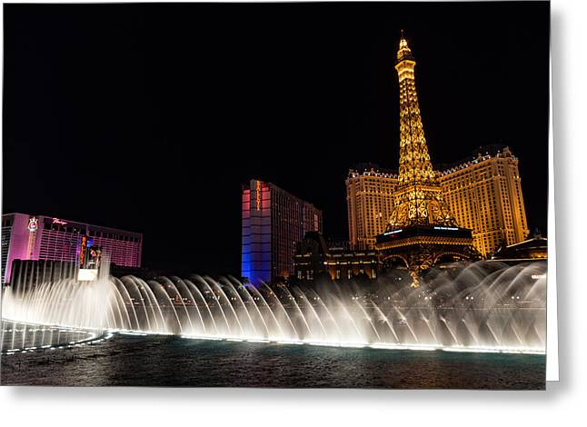 Glamour Music And Shine - Viva Las Vegas Greeting Card by Georgia Mizuleva