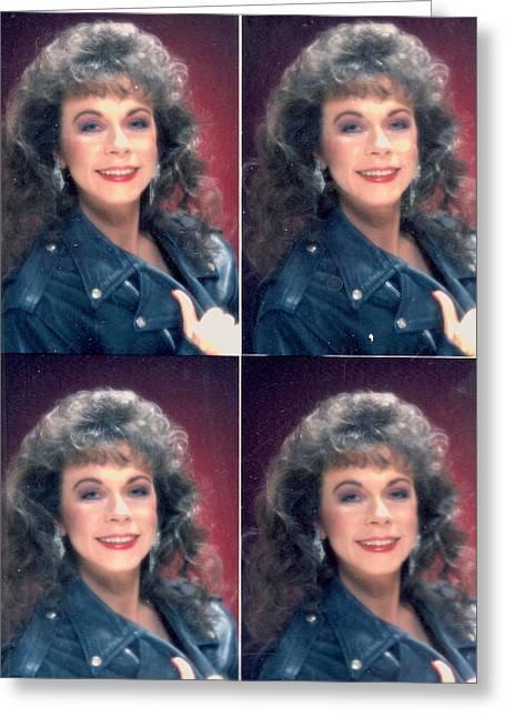 Glamour Shot Times Four Greeting Card by Anne-Elizabeth Whiteway