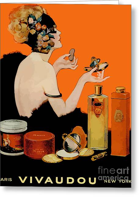 Glamour Vintage Art Deco Cosmetics Greeting Card by Mindy Sommers