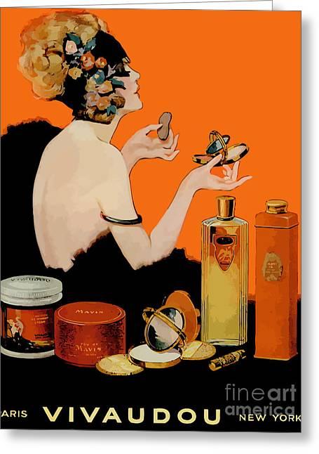 Glamour Vintage Art Deco Cosmetics Greeting Card