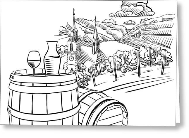 Glas Of Wine On Barrel In Front Of German Vineyard Landscape Greeting Card