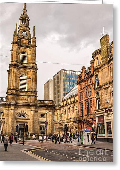 Glasgow Street Scene Greeting Card by Antony McAulay