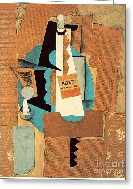 Glass And Bottle Of Suze Greeting Card by Pablo Picasso