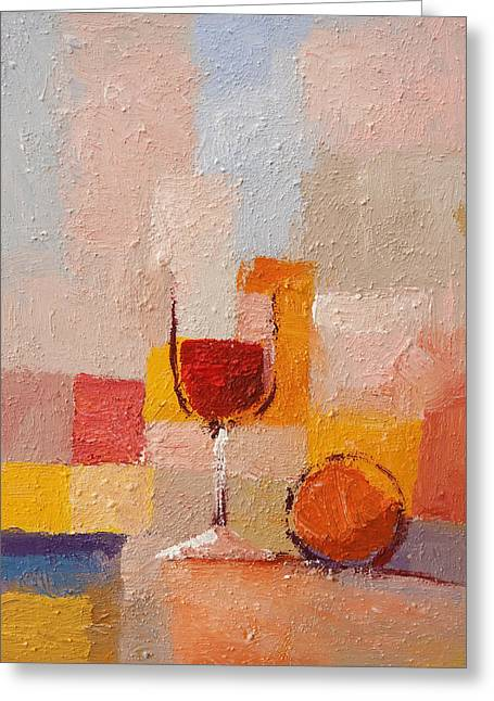 Glass And Orange Greeting Card by Lutz Baar