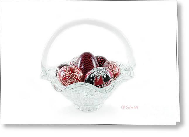 Glass Basket Full Of Eggs Greeting Card