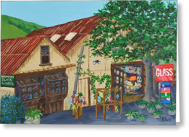 Glass Blower Shop Harmony California Greeting Card by Katherine Young-Beck