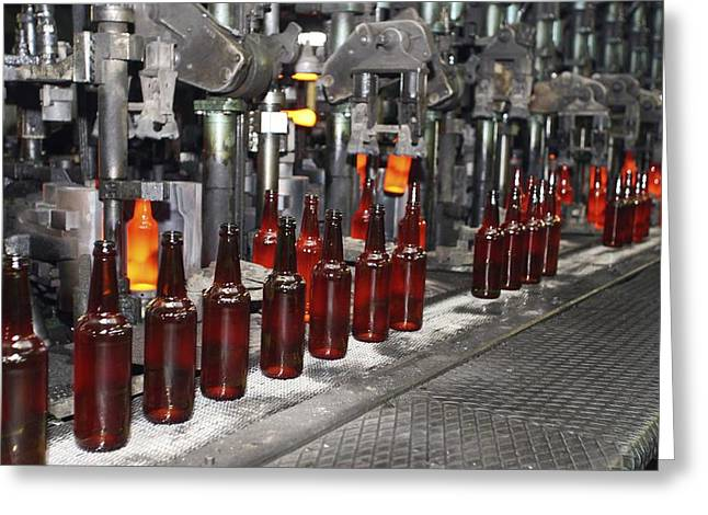 Glass Bottle Production Line Greeting Card by Ria Novosti