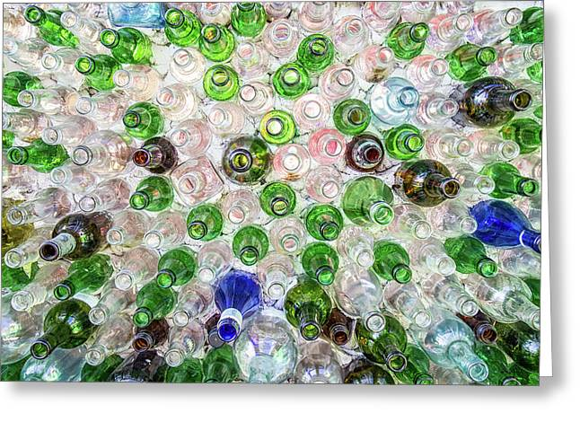 Glass Bottle Wall At The Hideaway Tiki Bar Greeting Card