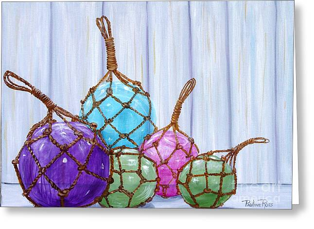Glass Bouys Greeting Card by Pauline Ross
