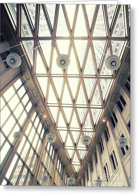 glass ceiling in hall of  new State office  Greeting Card