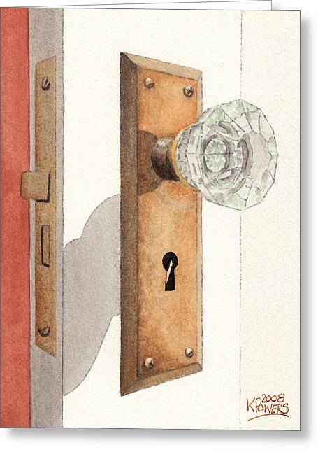 Glass Door Knob And Passage Lock Revisited Greeting Card by Ken Powers